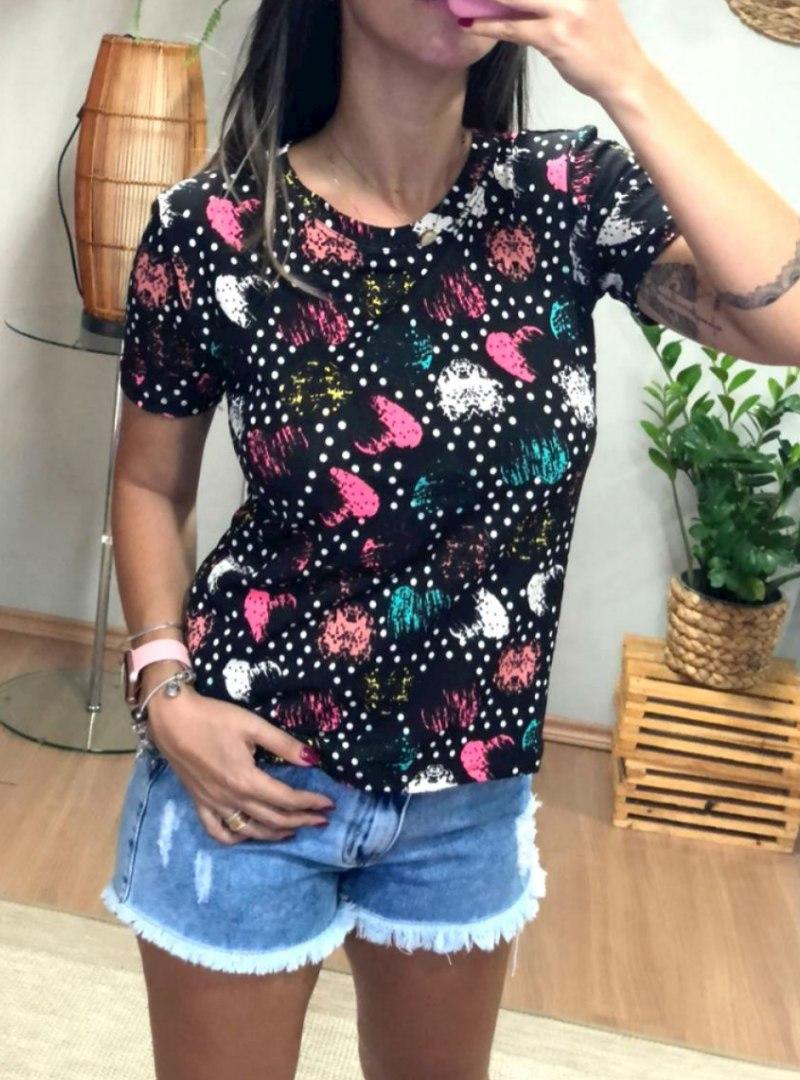 Camiseta Feminina Manga Curta Algodão - Coração