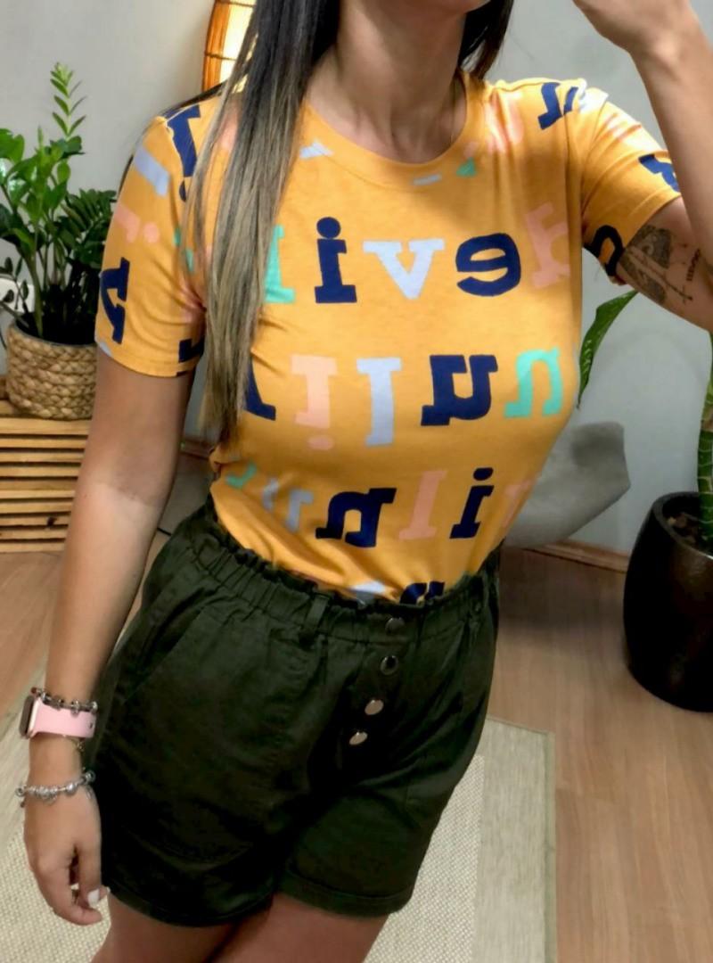 Camiseta Feminina Manga Curta Algodão - Letras