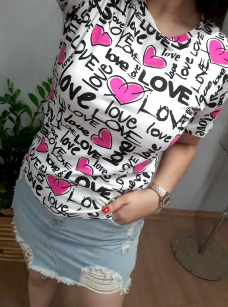 Camiseta Feminina Manga Curta Algodão - Love