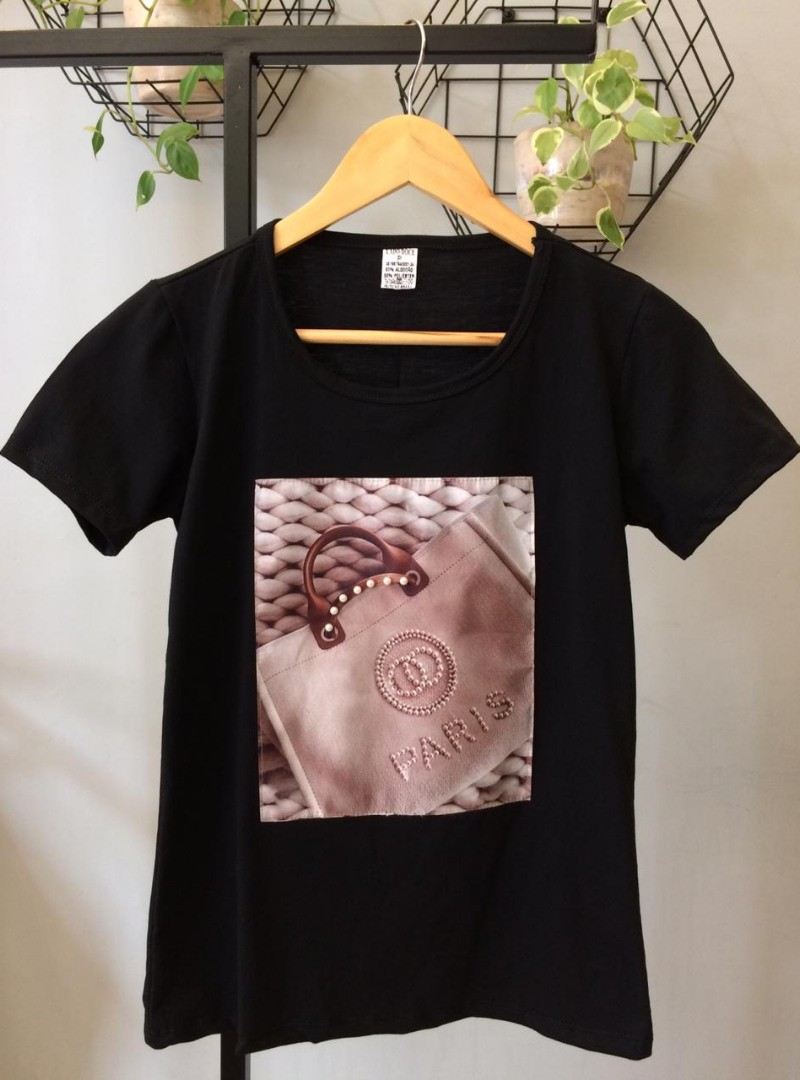 Camiseta Feminina Manga Curta Algodão Paris - Carol