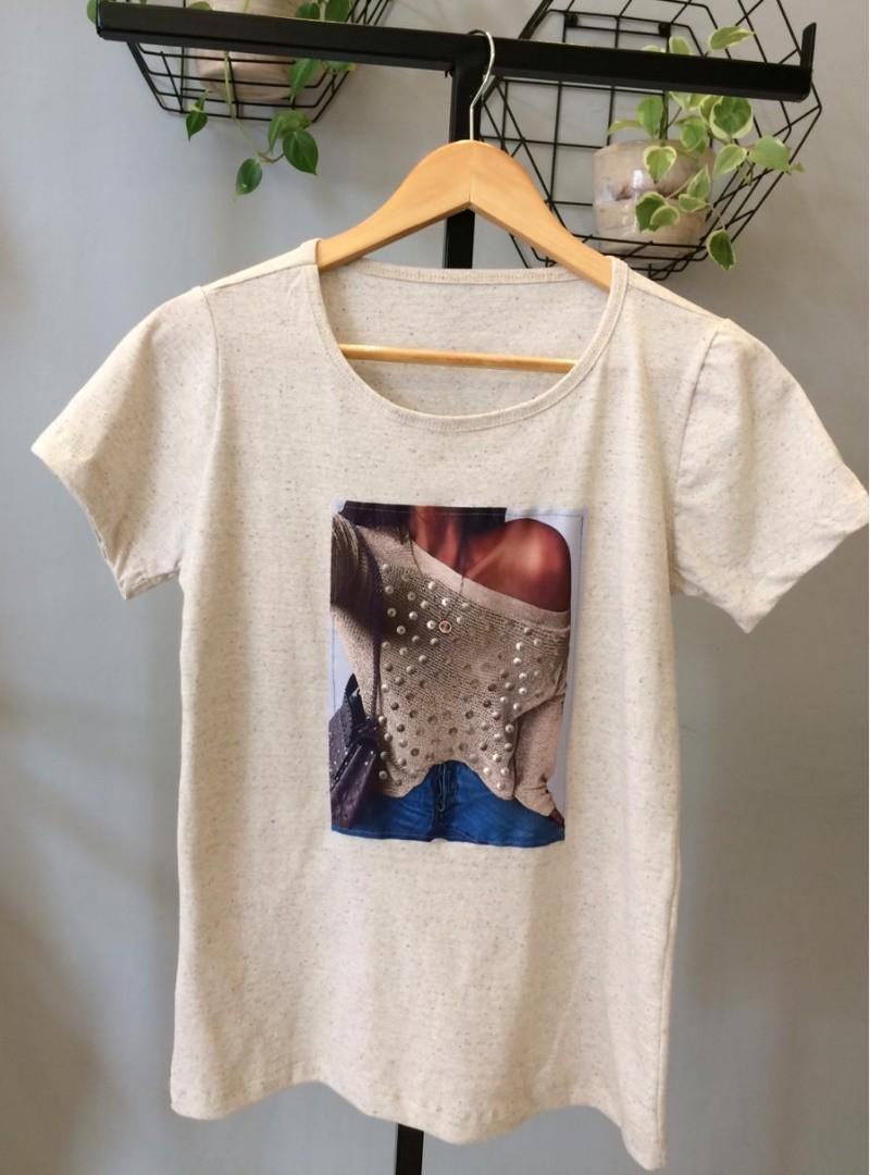 Camiseta Feminina Manga Curta Algodão Plus Size - Carina