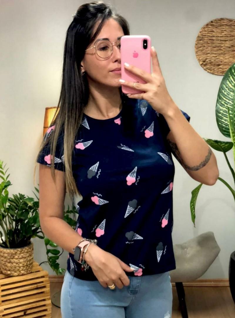 Camiseta Feminina Manga Curta Algodão - Sorvete