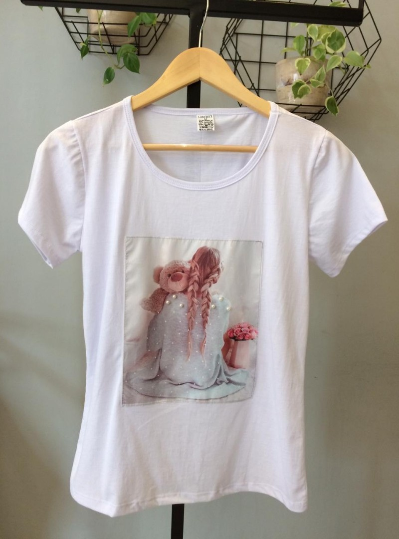 Camiseta Feminina Manga Curta Algodão Trança - Carol