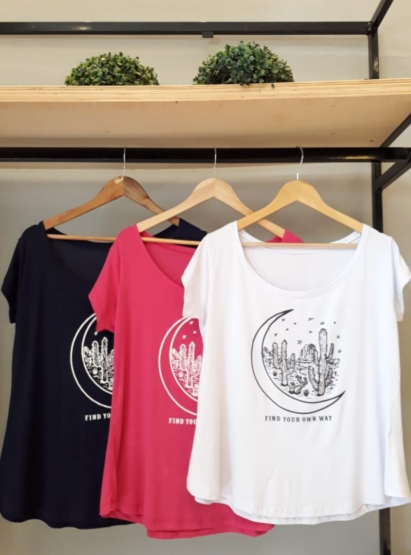 Camiseta Feminina Manga Curta Viscolycra  Plus Size - Cactos