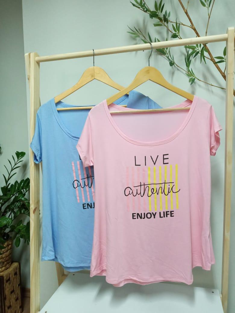 Camiseta Viscolycra  Plus Size - Live Authentic