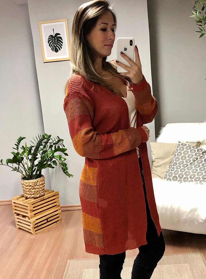Kimono Manga Longa Listras Tricot - Gabriela