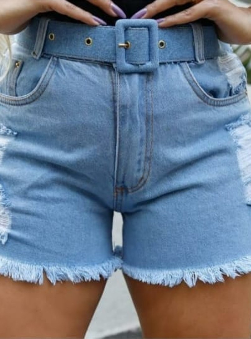 Shorts Curto Jeans Destroyed Cinto - Daiane