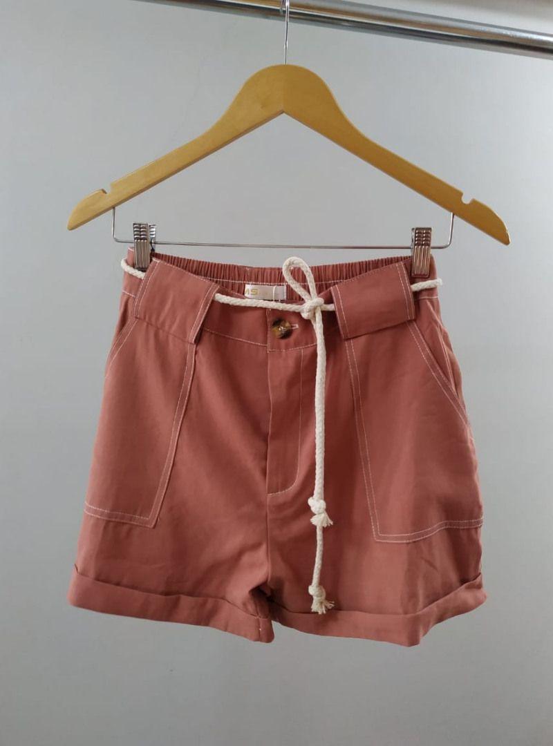 Shorts Curto Poliamida Cinto - Débora