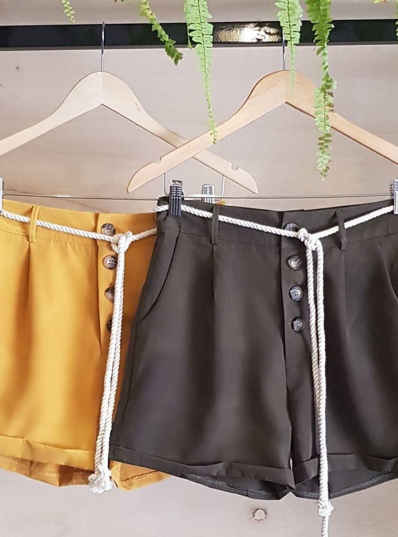 Shorts Curto Sarja Acetinada Cordão - Juliana