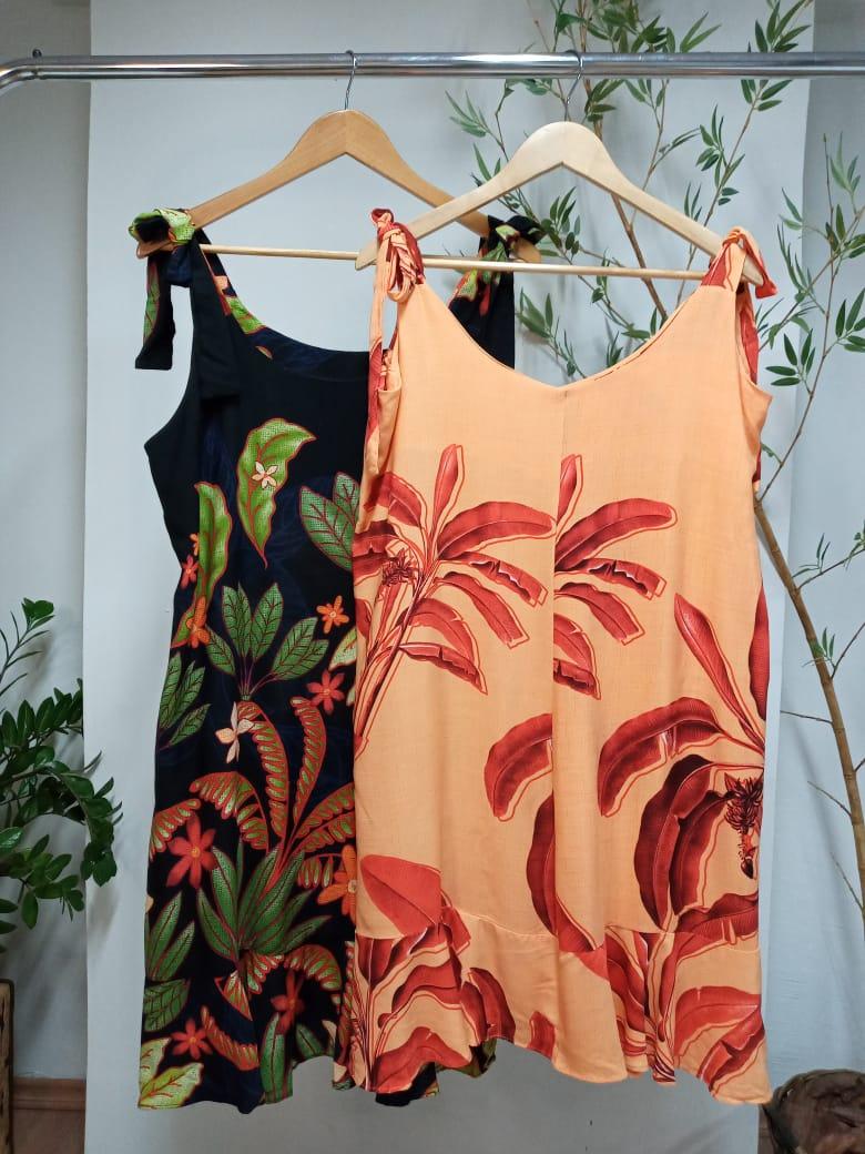 Vestido Alça Plus Size Curto  Viscolinho - Claudia