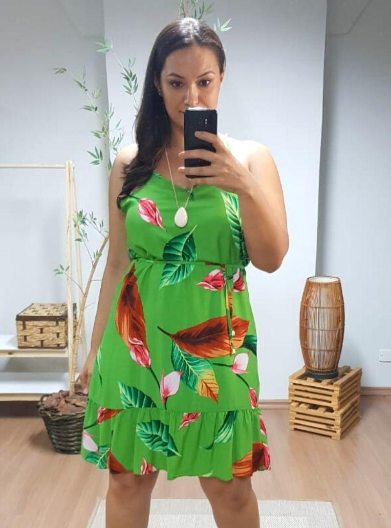 Vestido Curto Alça Plus Size Viscose - Jade