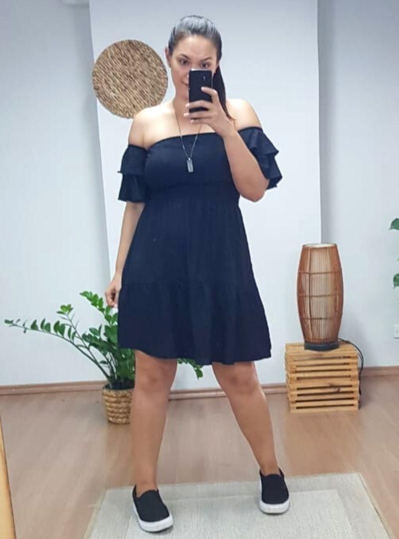 Vestido Curto Ciganinha Lastex Viscose - Bianca