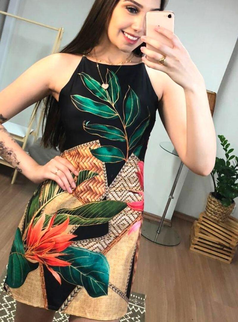 Vestido Curto de Poliamida com Alça de Corda - Kauana