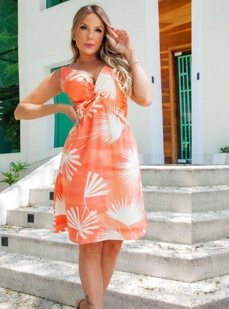 Vestido Curto Viscolycra Estampado - Natalia