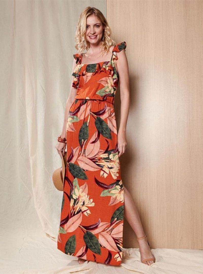 Vestido Longo de Viscose Estampado - Sônia