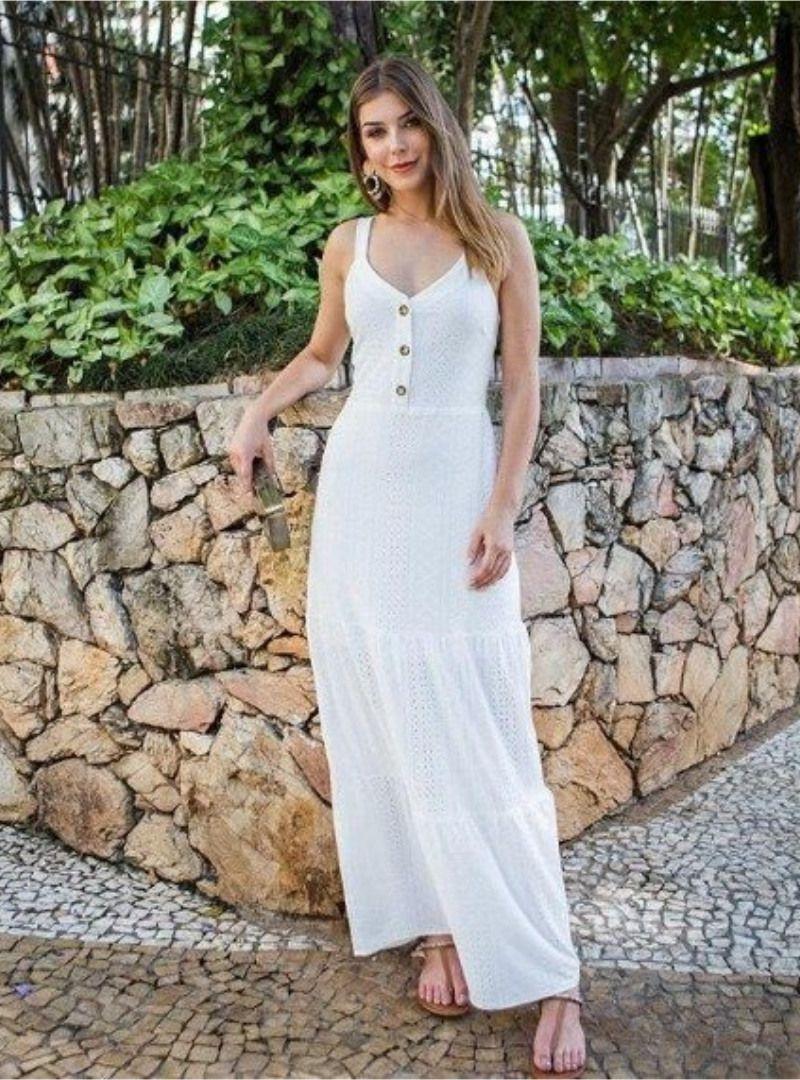 Vestido Longo Malha Laise Brenda Branco