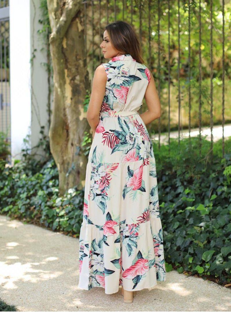 Vestido Longo Poliamida Estampado - Naiara