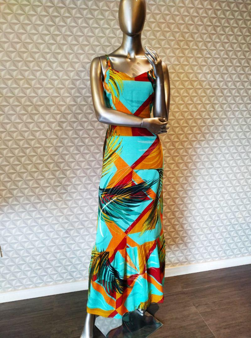 Vestido Longo Viscolinho Estampado - Isadora