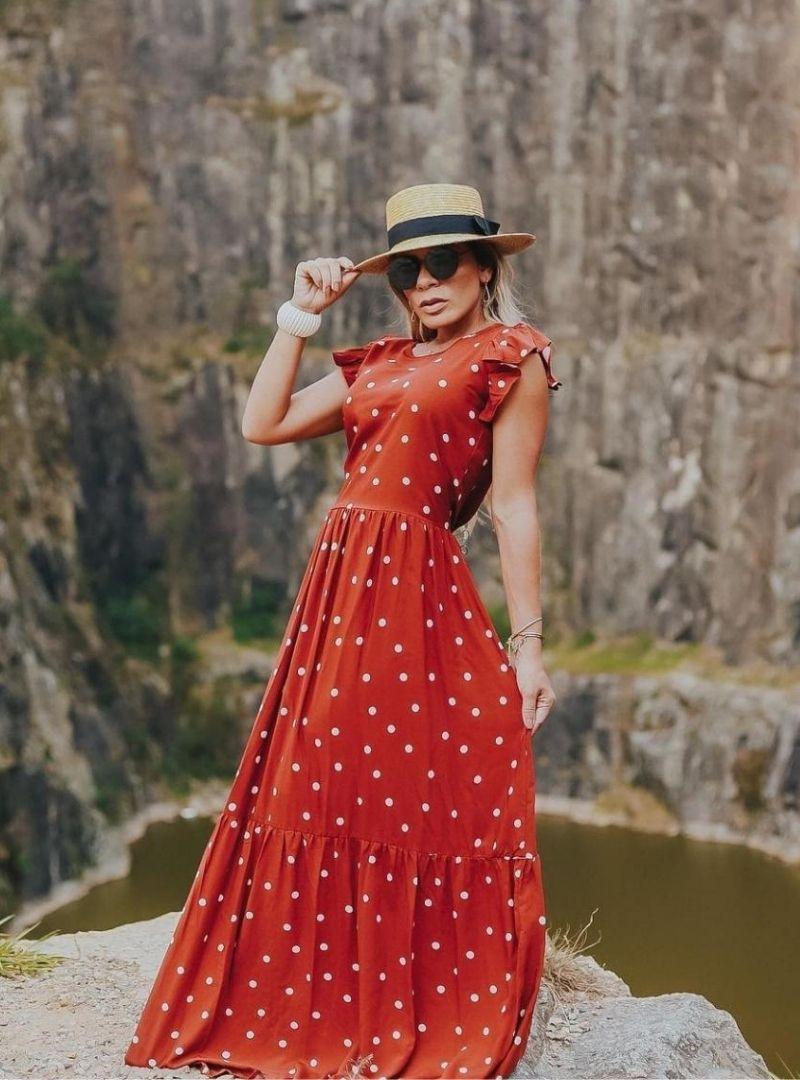 Vestido Longo Viscolinho Poá - Tatiane