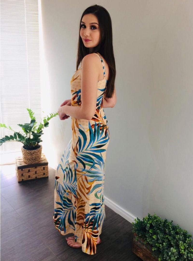 Vestido Longo Viscose Acetinada Estampado - Francine