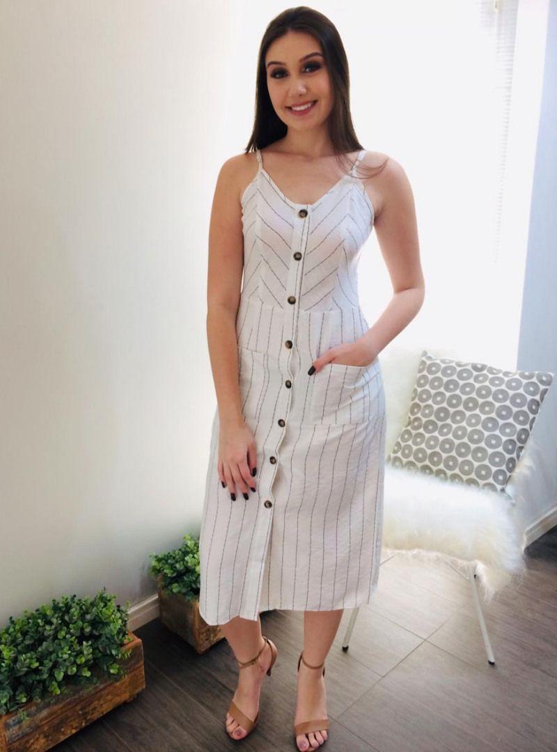 Vestido Midi Listrado Viscose Alice Branco