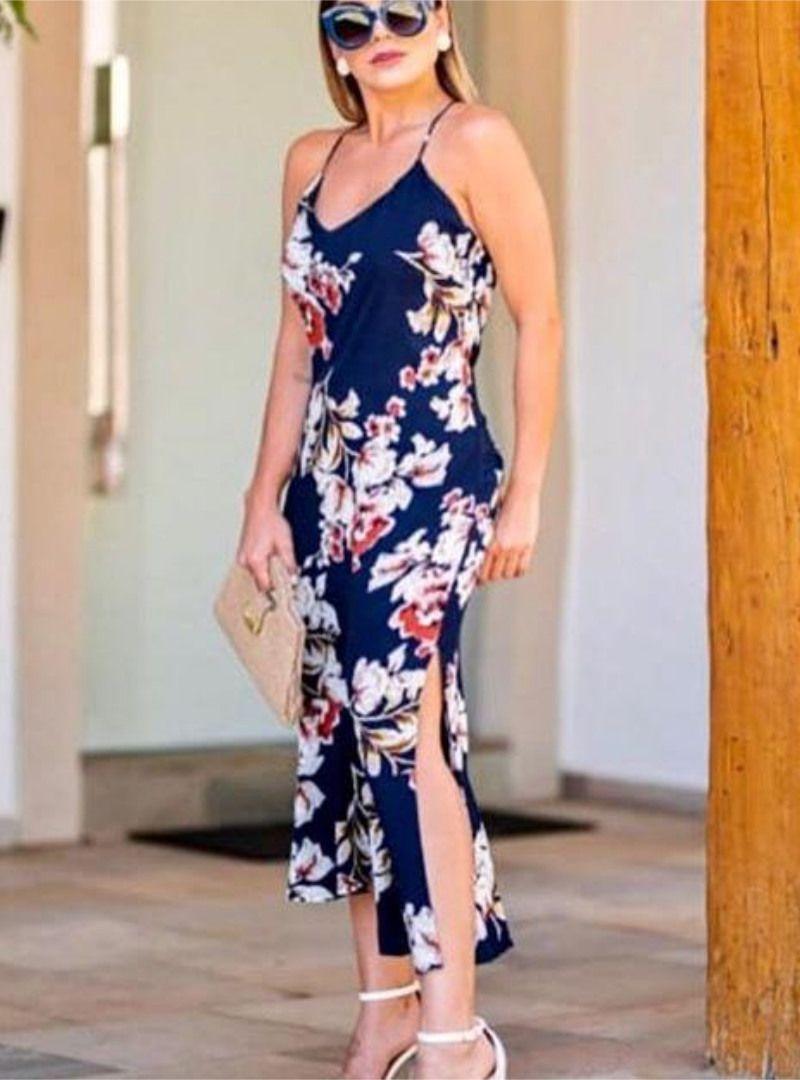 Vestido Midi Viscose Estampado - Daniele