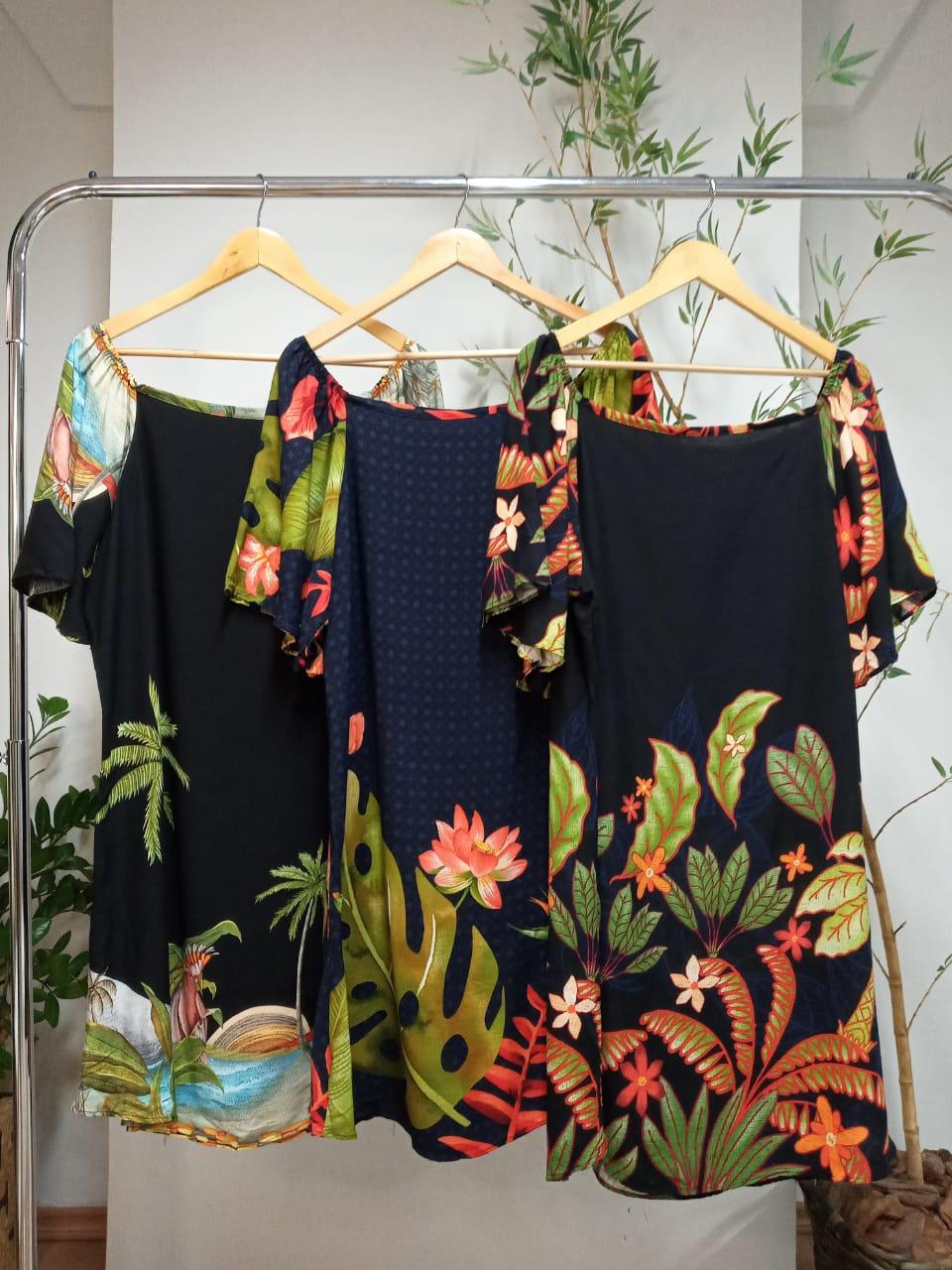 Vestido Plus Size Curto Estampado Viscose - Barbara