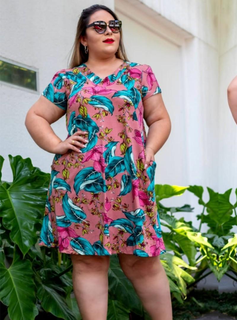 Vestido Plus Size Curto Viscolycra Estampado  - Maria