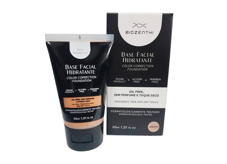 Base Facial Hidratante Tom Bege Médio 30 ml Biozenthi