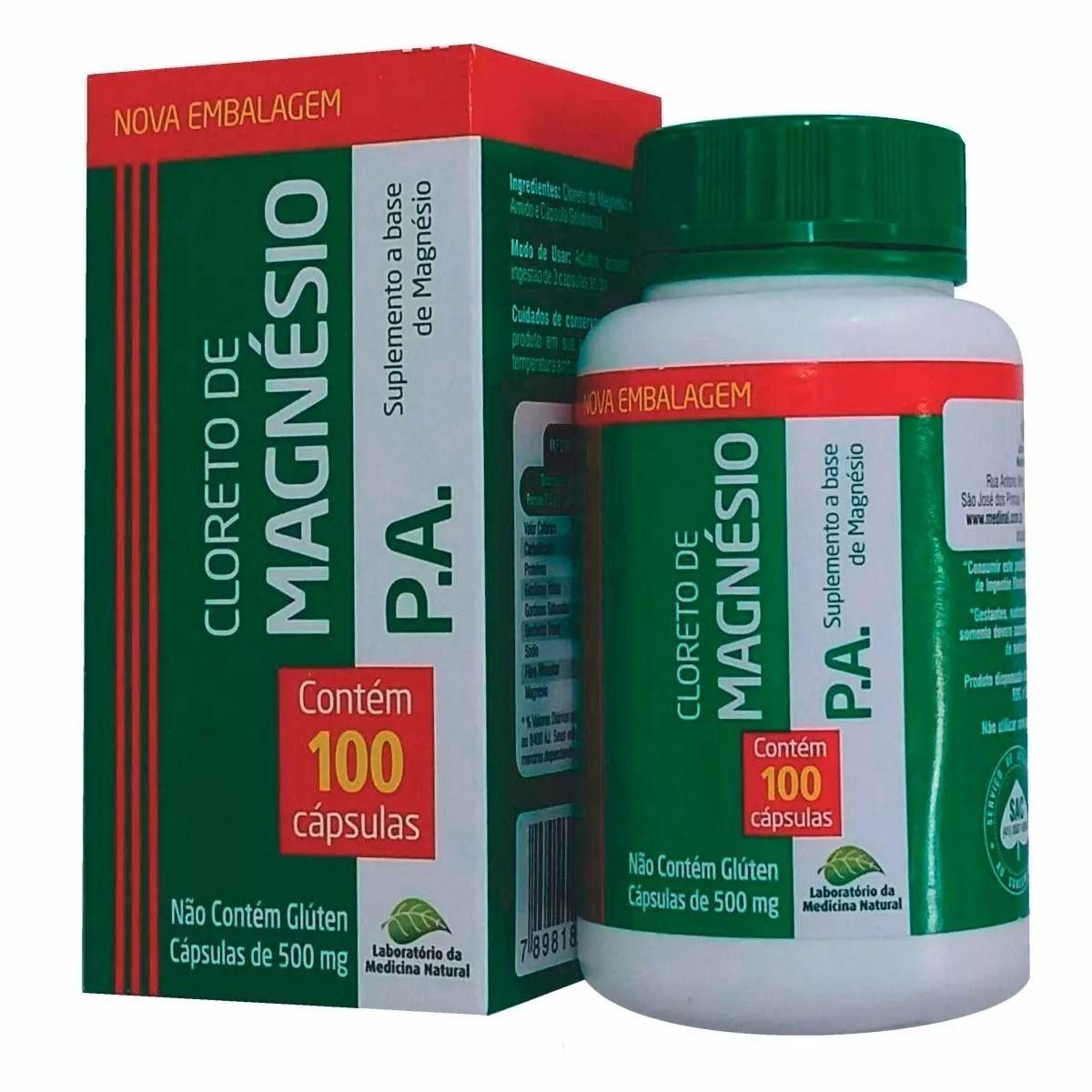 Cloreto de Magnésio Medicinal 100 Cápsulas