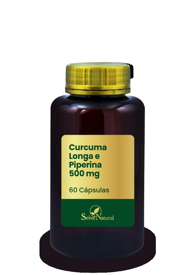 Curcuma Longa e Piperina 500 mg 60 Cápsulas