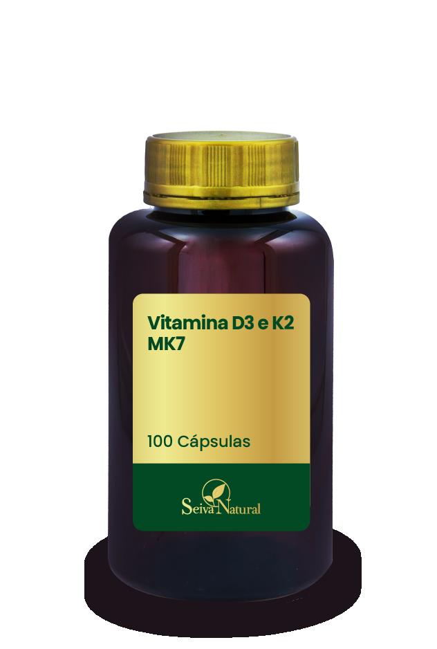 Vitamina D3 e K2 MK7 100 Cápsulas