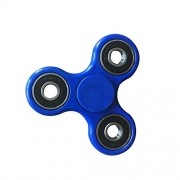 Hand Spinner Azul - Anel Preto / Prata Rolamento Anti Estresse Fidget Hand Spinner