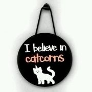 Placa de Parede Gatos - I believe in Catcorns