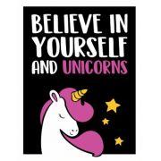 Placa Decorativa Believe In Yourself And Unicorns