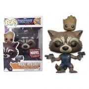 Pop! Rocket With Groot (Exclusivo): Guardians of the Galaxy Vol. 2 (Guardiões da Galáxia Vol.2) #211 - Funko