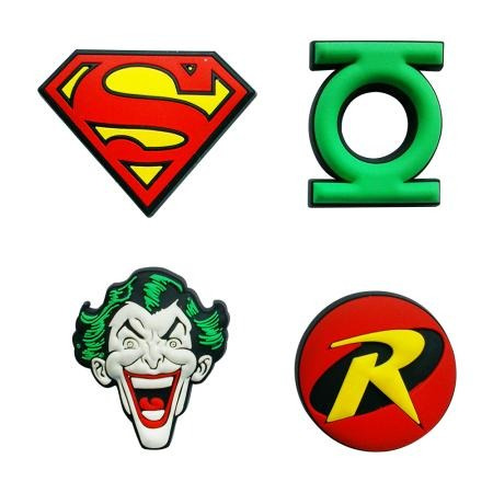 4 Imãs DC Comics Logo (Super Homem, Lanterna Verde, Coringa e Robin)