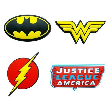 4 Imãs DC Comics Logos Heróis (Batman, Mulher Maravilha, Flash e Justice League of America)