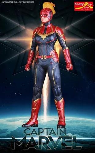 Action Figure Capitã Marvel: Capitã Marvel Captain Marvel Escala 1/6 - Crazy Toys