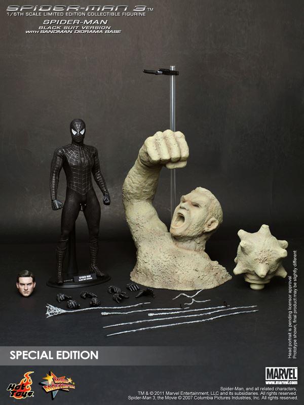 Action Figure Homem Aranha Roupa Preta e Homem Areia (Spider-man Black Suit Sandman): Homem Aranha 3 - Hot Toys