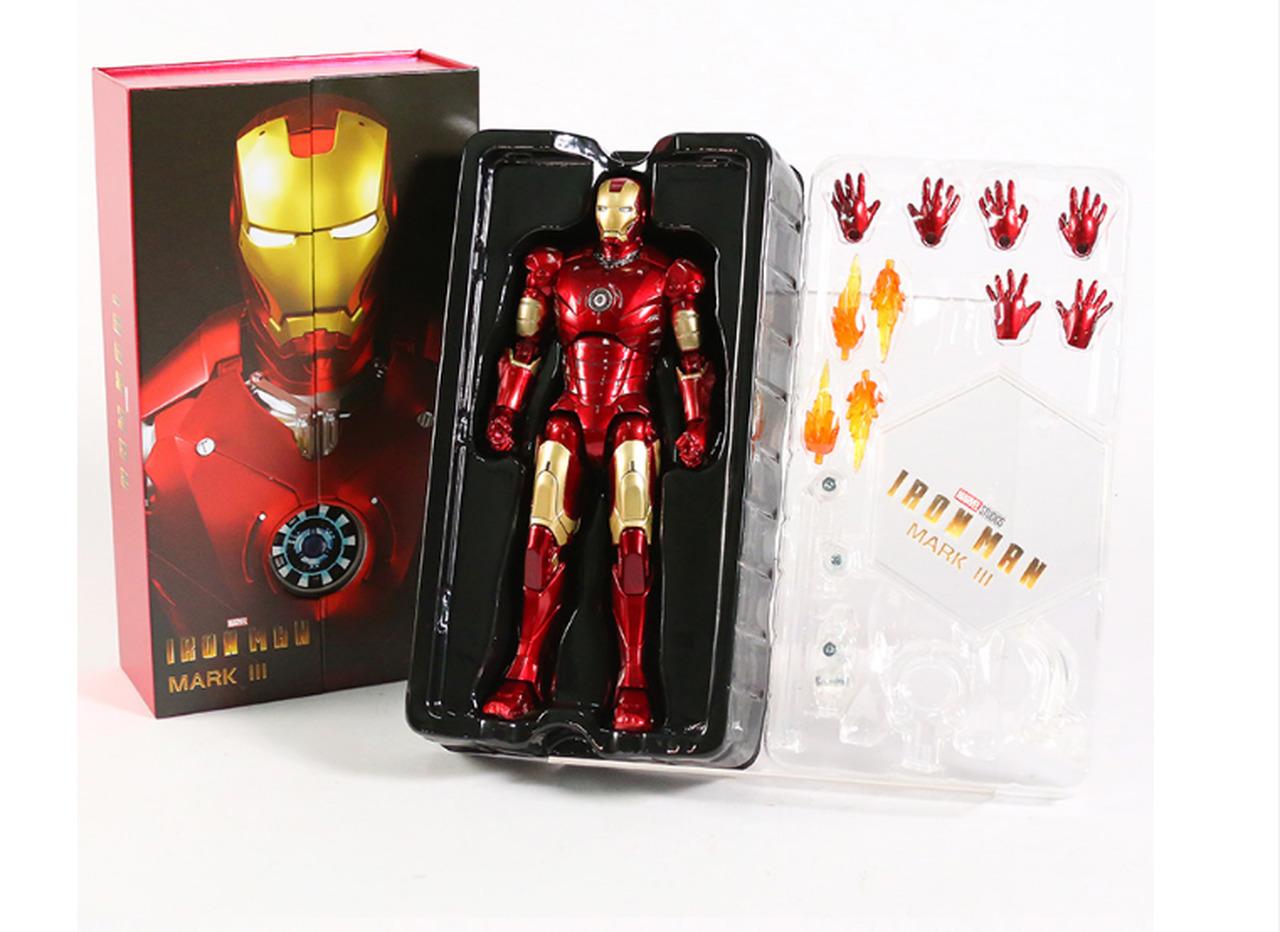 Action Figure Homem de Ferro Iron Man Mark 3 III: Vingadores Avengers Marvel Comics Escala 1/10 - Zhongdong Toy