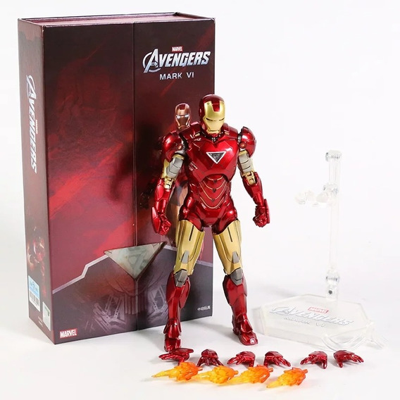 Action Figure Homem de Ferro Iron Man Mark 6 VI: Vingadores Avengers Marvel Comics Escala 1/10 - Zhongdong Toy
