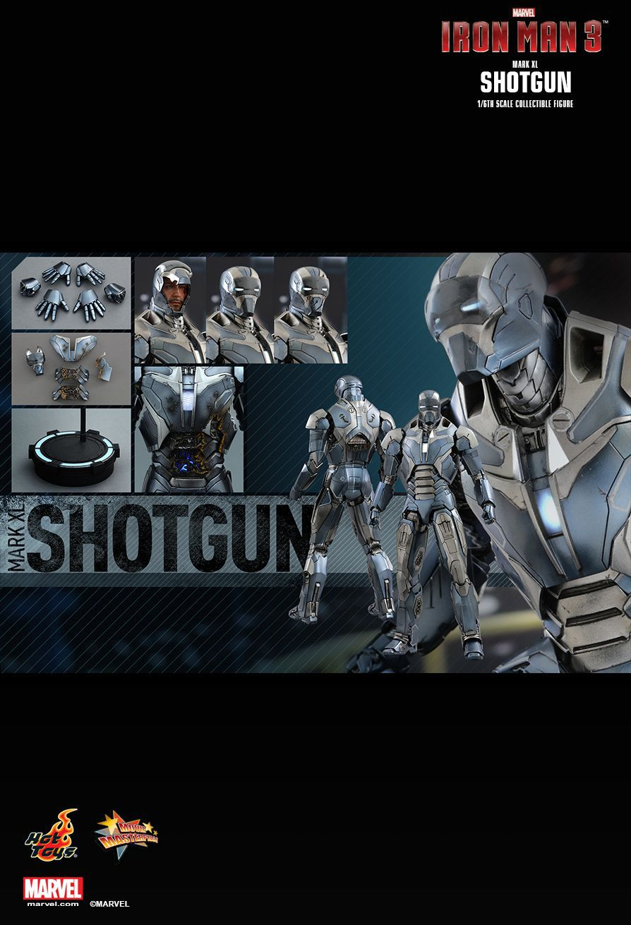 Action Figure Homem de Ferro (Iron Man Shotgun) Mark XL: Homem de Ferro 3 (Iron Man 3) Escala 1/6 (MMS309) - Hot Toys