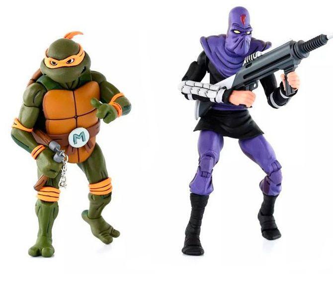 Action Figure Michelangelo Vs. Foot Soldier: Tartarugas Ninja (Teenage Mutant Ninja Turtles) (2 Pack) - Neca