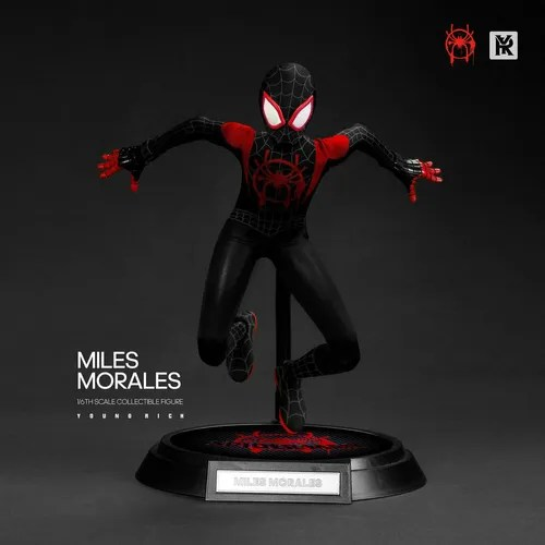 Action Figure Miles Morales: Homem-Aranha No Aranhaverso (Spider-Man Into the Spider-Verse) Traje de Batalha Escala 1/6 - Young Rich Toys