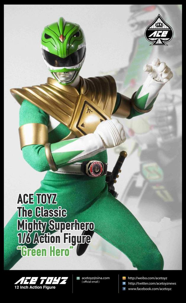 Action Figure O Clássico Super Herói Verde (The Classic Mighty Superhero): Power Ranger (Escala 1/6) CMSH-06 - Ace Toyz