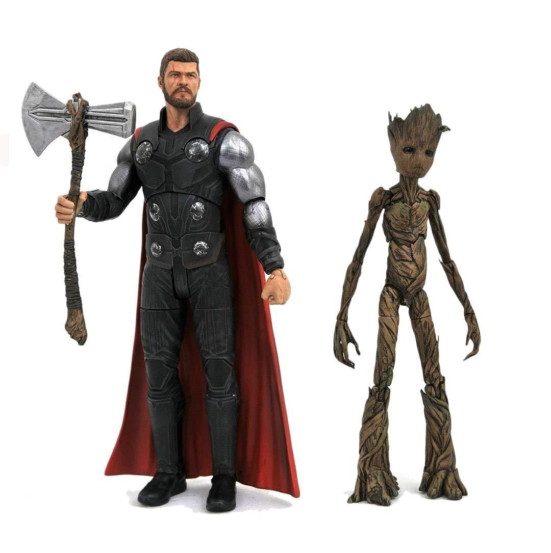 Action Figure Thor & Groot: Vingadores Guerra Infinita Infinity War Colecionável - Marvel Select