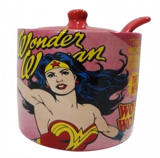 Açucareiro Wonder Woman (Mulher Maravilha) Cover Page Rosa
