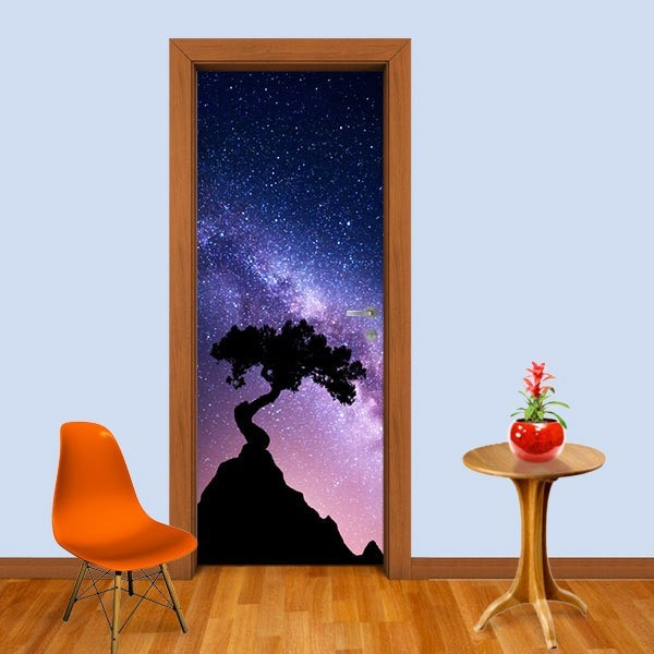 Adesivo (Sticker) Para Porta: Árvore E Estrelas