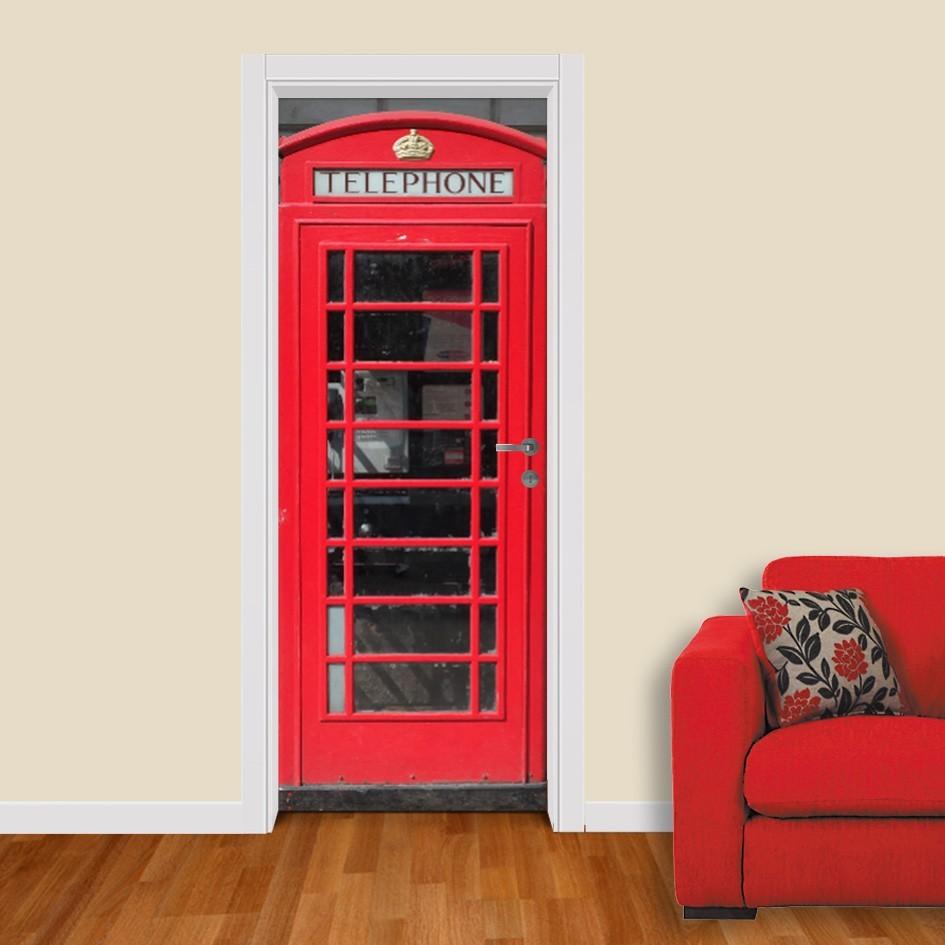 Adesivo (Sticker) Para Porta: Cabine Telefônica Inglesa